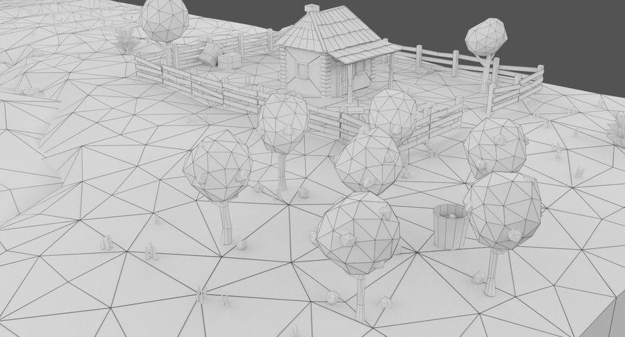 Cartoon Mountain Landscape Scene royalty-free 3d model - Preview no. 24