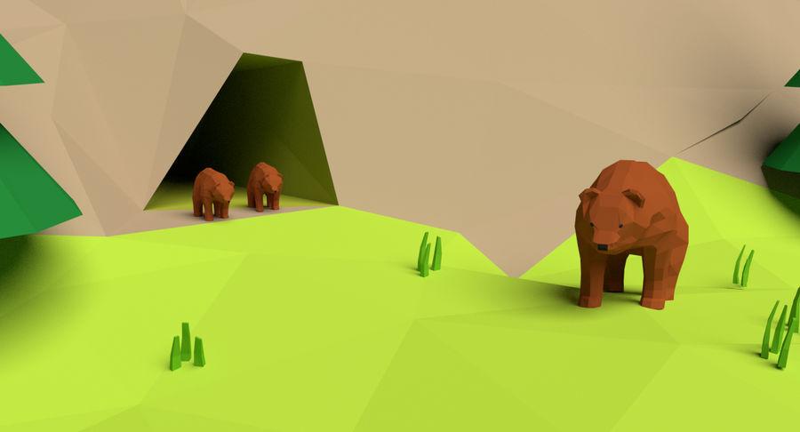 Cartoon Mountain Landscape Scene royalty-free 3d model - Preview no. 9