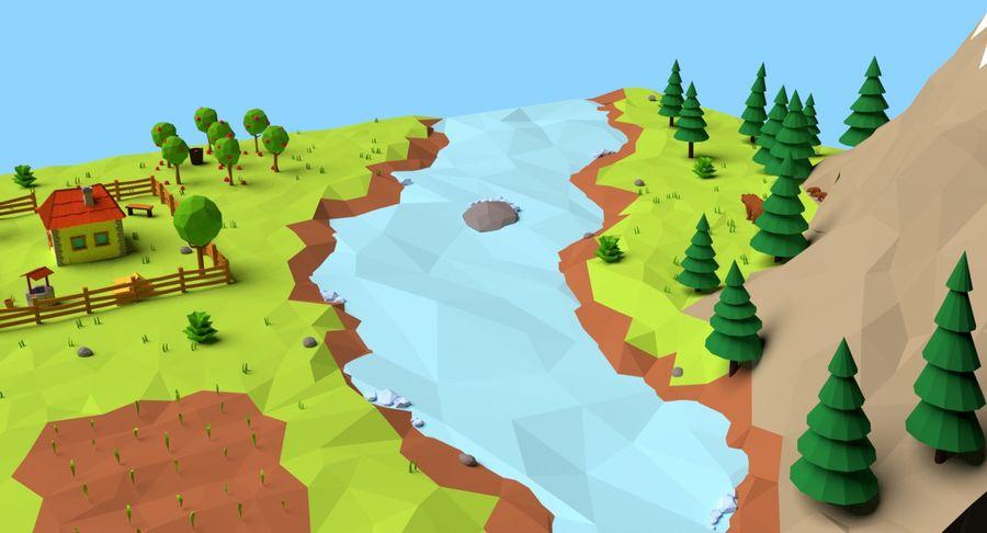 Cartoon Mountain Landscape Scene royalty-free 3d model - Preview no. 14