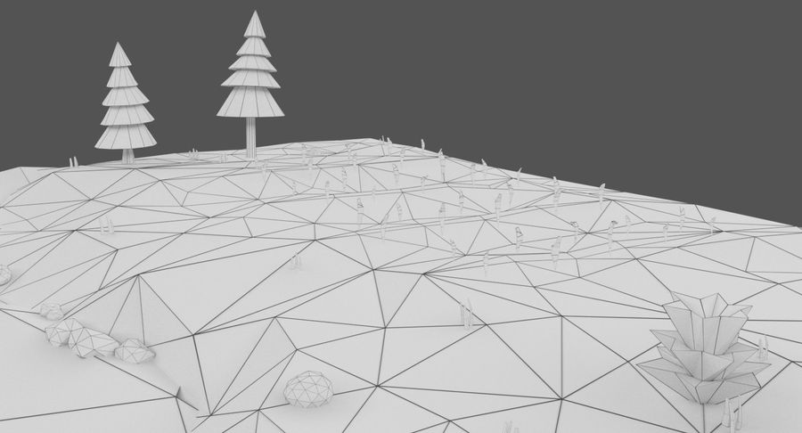 Cartoon Mountain Landscape Scene royalty-free 3d model - Preview no. 22