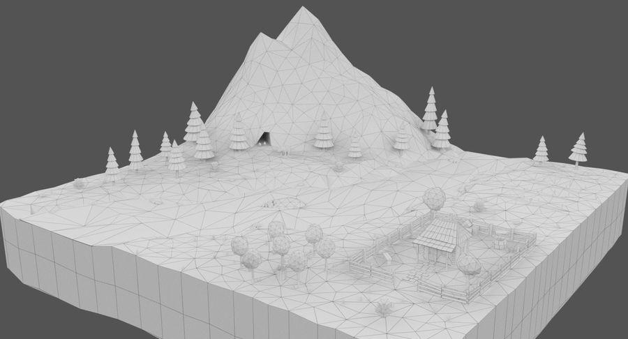 Cartoon Mountain Landscape Scene royalty-free 3d model - Preview no. 16