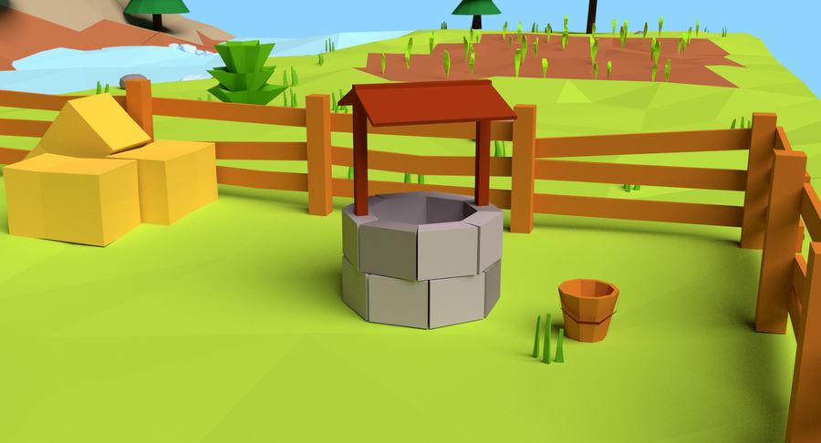 Cartoon Mountain Landscape Scene royalty-free 3d model - Preview no. 7