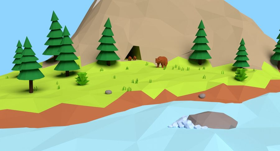 Cartoon Mountain Landscape Scene royalty-free 3d model - Preview no. 8