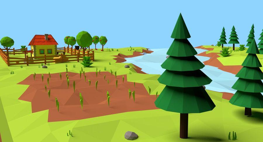 Cartoon Mountain Landscape Scene royalty-free 3d model - Preview no. 12