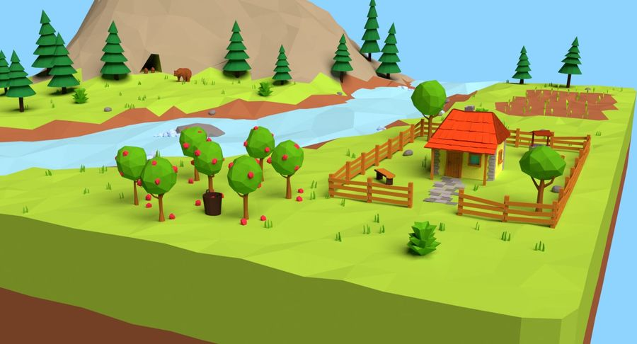 Cartoon Mountain Landscape Scene royalty-free 3d model - Preview no. 3