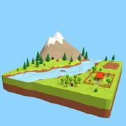 Мультфильм горный пейзаж сцена 3d model