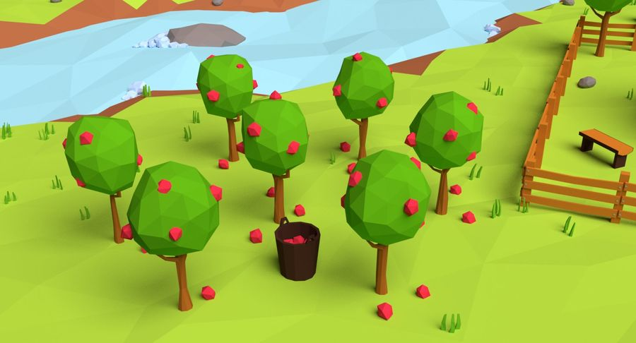 Cartoon Mountain Landscape Scene royalty-free 3d model - Preview no. 15