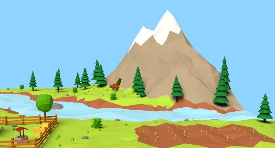 Cartoon Mountain Landscape Scene royalty-free 3d model - Preview no. 11