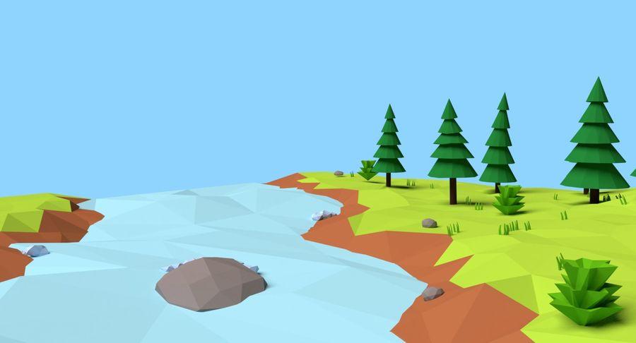 Cartoon Mountain Landscape Scene royalty-free 3d model - Preview no. 13