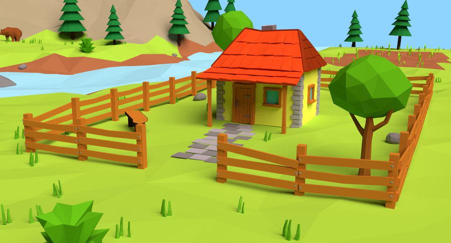 Cartoon Mountain Landscape Scene royalty-free 3d model - Preview no. 4