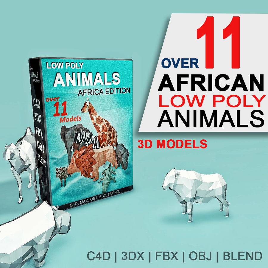 Low Poly Animals (Africa Edition) royalty-free 3d model - Preview no. 1