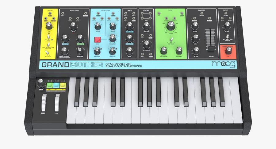 Moog Grandmother Synthesizer royalty-free 3d model - Preview no. 7