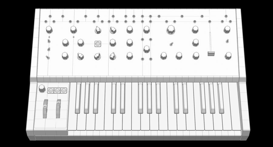 Moog Grandmother Synthesizer royalty-free 3d model - Preview no. 13
