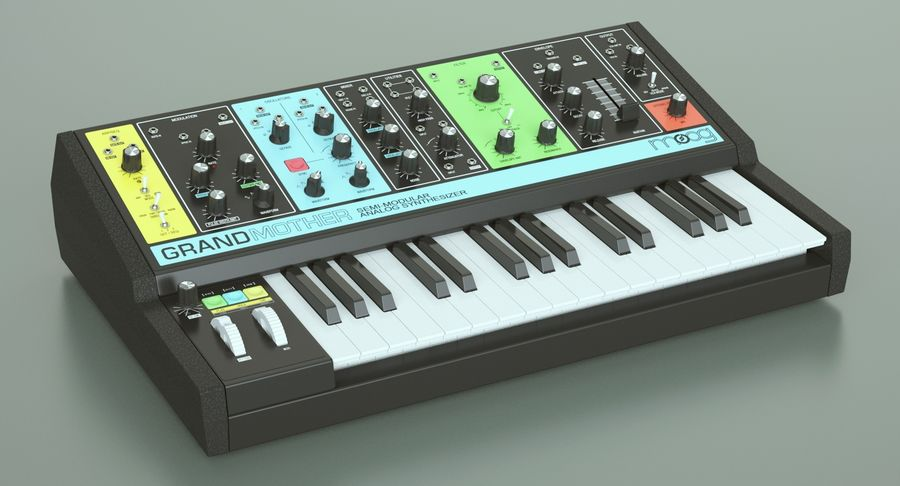 Moog Grandmother Synthesizer royalty-free 3d model - Preview no. 3