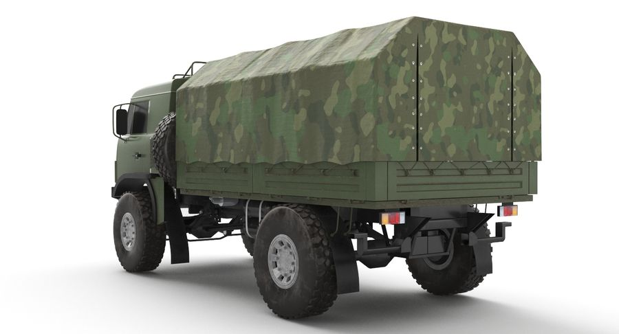 KAMAZ Army Truck royalty-free 3d model - Preview no. 8