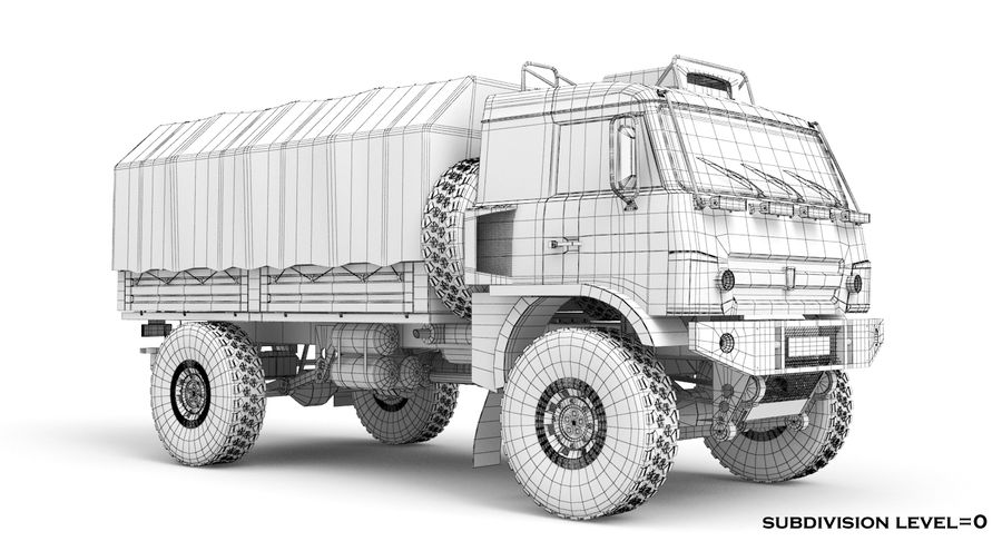 KAMAZ Army Truck royalty-free 3d model - Preview no. 11