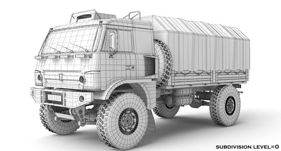 KAMAZ Army Truck royalty-free 3d model - Preview no. 10