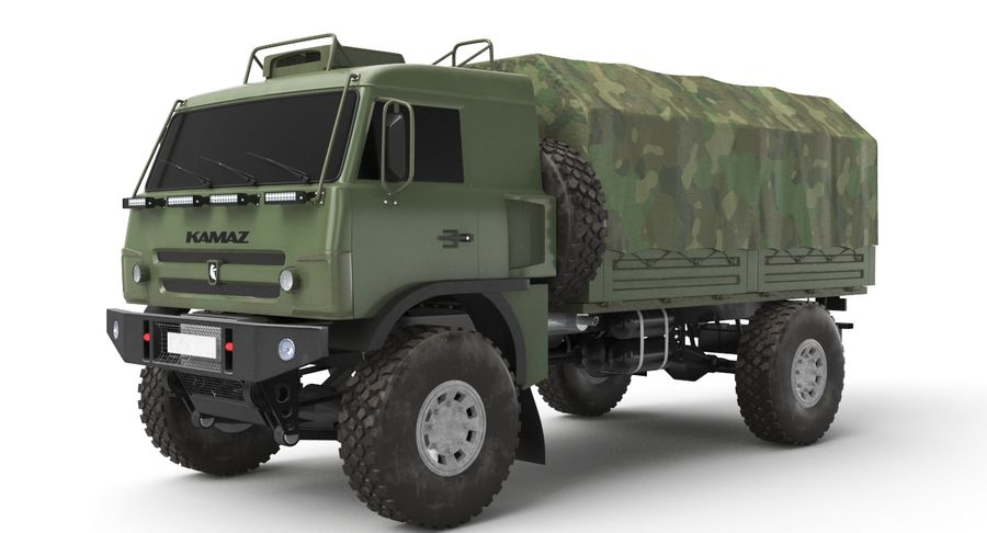 KAMAZ Army Truck royalty-free 3d model - Preview no. 4