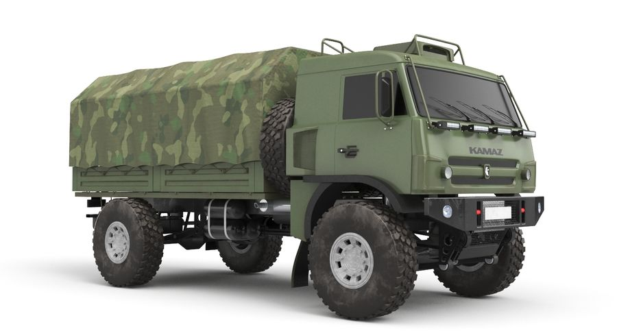 KAMAZ Army Truck royalty-free 3d model - Preview no. 3