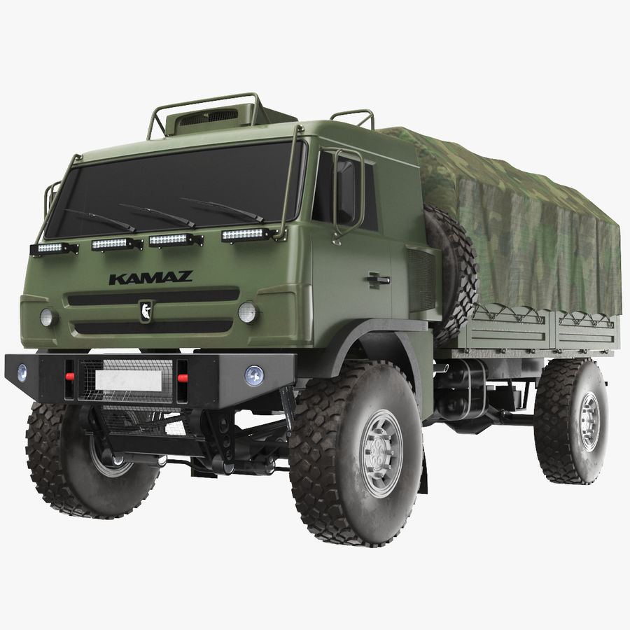KAMAZ Army Truck royalty-free 3d model - Preview no. 1