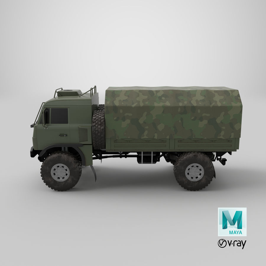 KAMAZ Army Truck royalty-free 3d model - Preview no. 15
