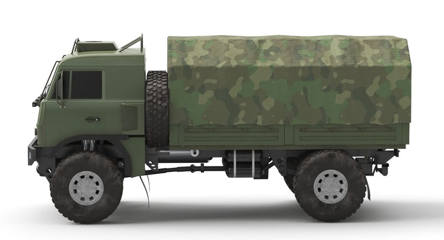 KAMAZ Army Truck royalty-free 3d model - Preview no. 7