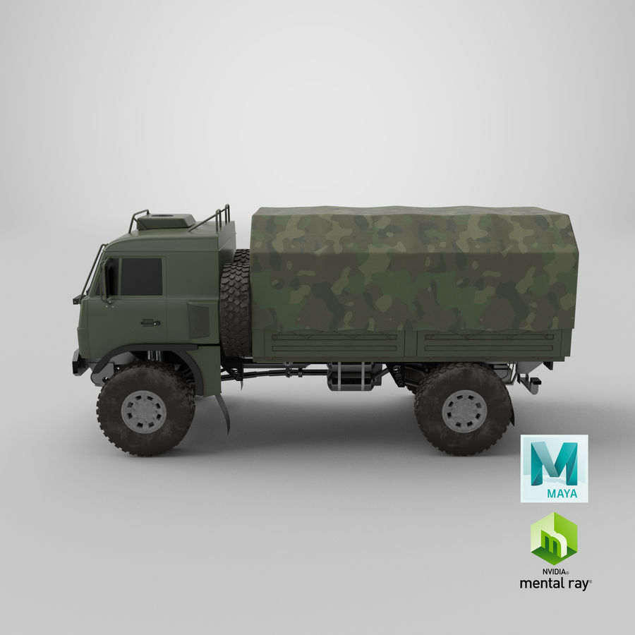 KAMAZ Army Truck royalty-free 3d model - Preview no. 16