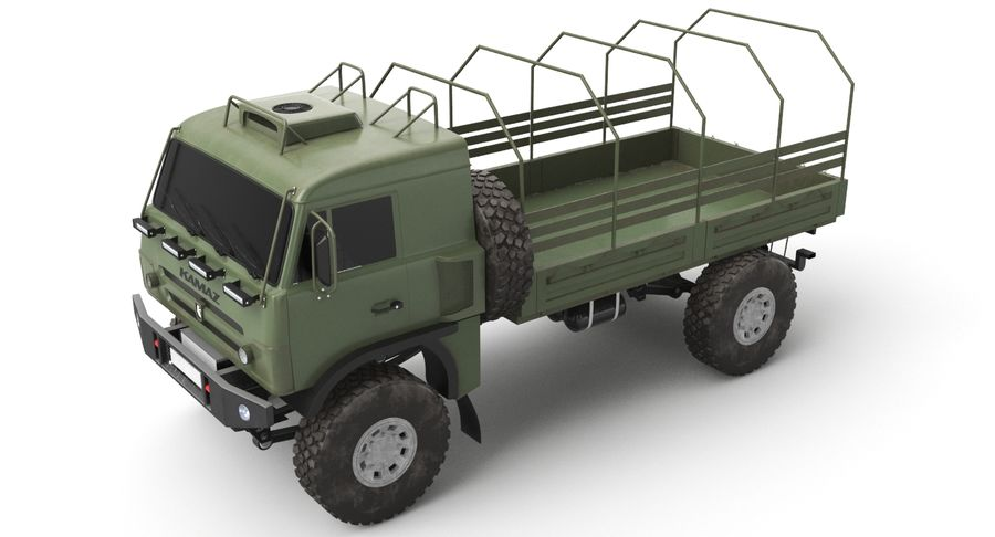 KAMAZ Army Truck royalty-free 3d model - Preview no. 6