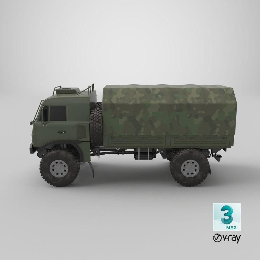 KAMAZ Army Truck royalty-free 3d model - Preview no. 17