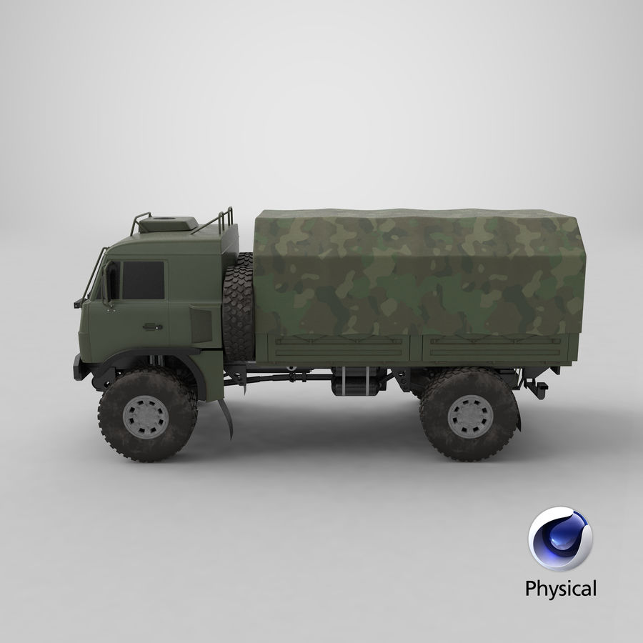 KAMAZ Army Truck royalty-free 3d model - Preview no. 19