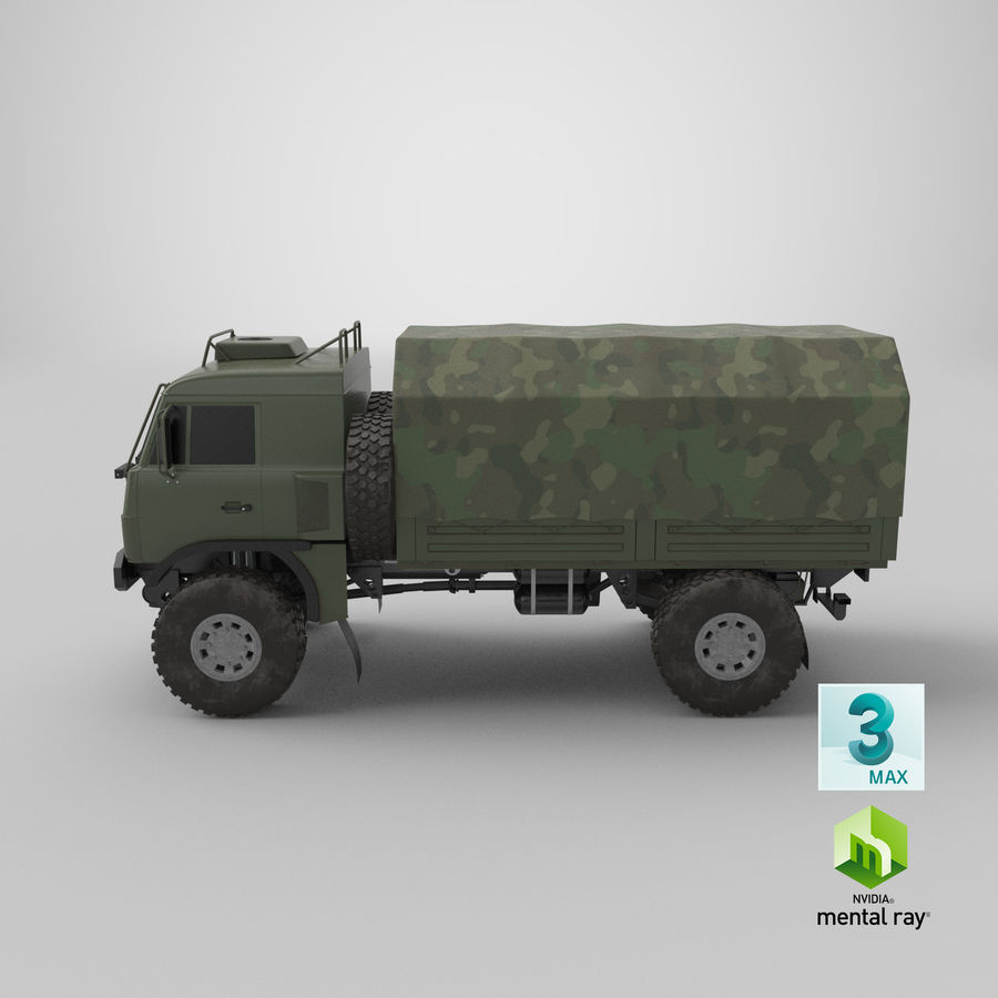 KAMAZ Army Truck royalty-free 3d model - Preview no. 18