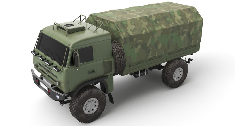 KAMAZ Army Truck royalty-free 3d model - Preview no. 5