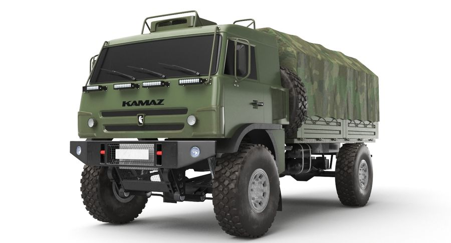KAMAZ Army Truck royalty-free 3d model - Preview no. 2