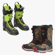 Ski and Snowboarding Boots 3D Models Collection 3d model