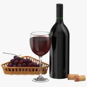 Garrafa de vinho com vidro e uvas 3d model