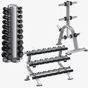 Dumbell Racks and Weight Plates Rack 3d model