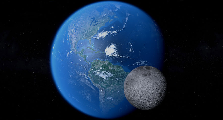 Earth and Moon Photorealistic 4K royalty-free 3d model - Preview no. 7
