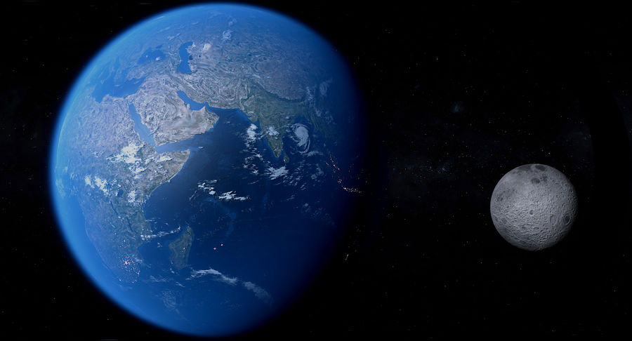 Earth and Moon Photorealistic 4K royalty-free 3d model - Preview no. 17