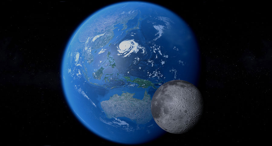 Earth and Moon Photorealistic 4K royalty-free 3d model - Preview no. 5
