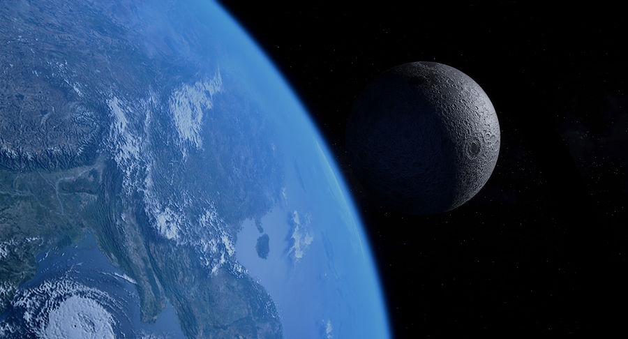 Earth and Moon Photorealistic 4K royalty-free 3d model - Preview no. 19