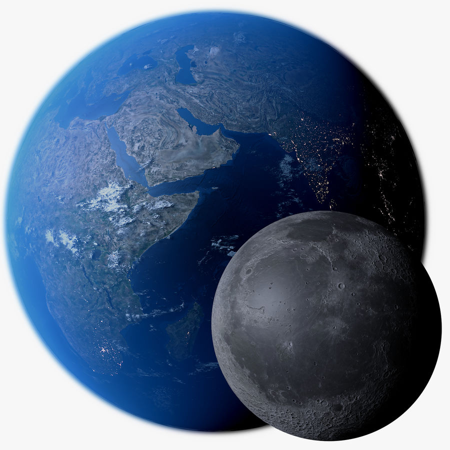 Earth and Moon Photorealistic 4K royalty-free 3d model - Preview no. 1