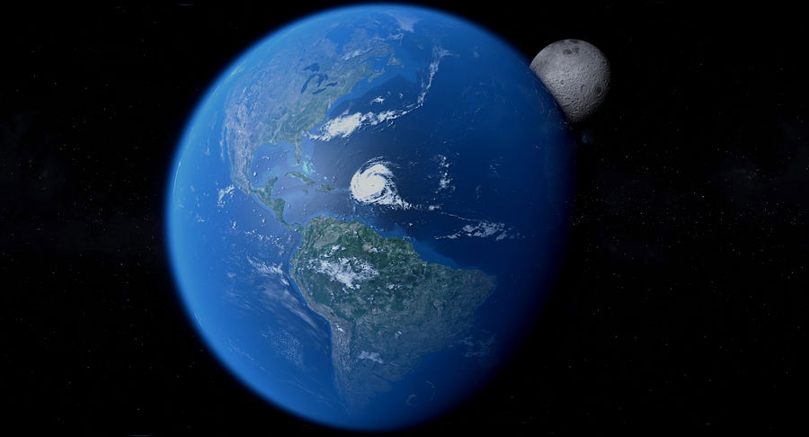 Earth and Moon Photorealistic 4K royalty-free 3d model - Preview no. 15