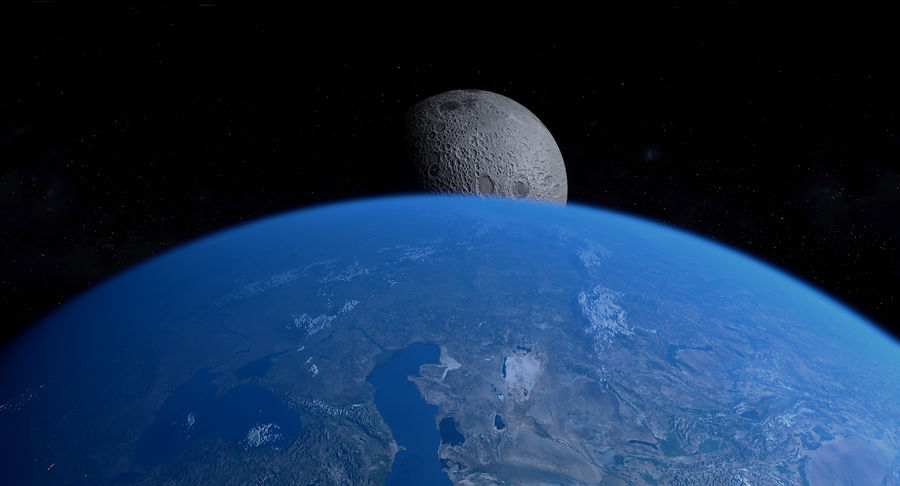 Earth and Moon Photorealistic 4K royalty-free 3d model - Preview no. 21