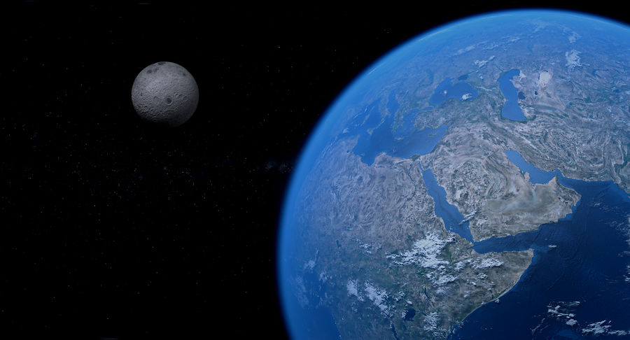 Earth and Moon Photorealistic 4K royalty-free 3d model - Preview no. 23