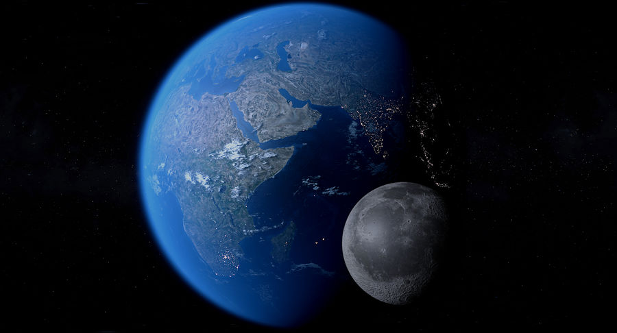 Earth and Moon Photorealistic 4K royalty-free 3d model - Preview no. 3