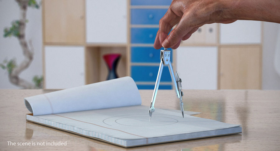 Brújula Círculo Dibujo Mano 3D Modelo royalty-free modelo 3d - Preview no. 3