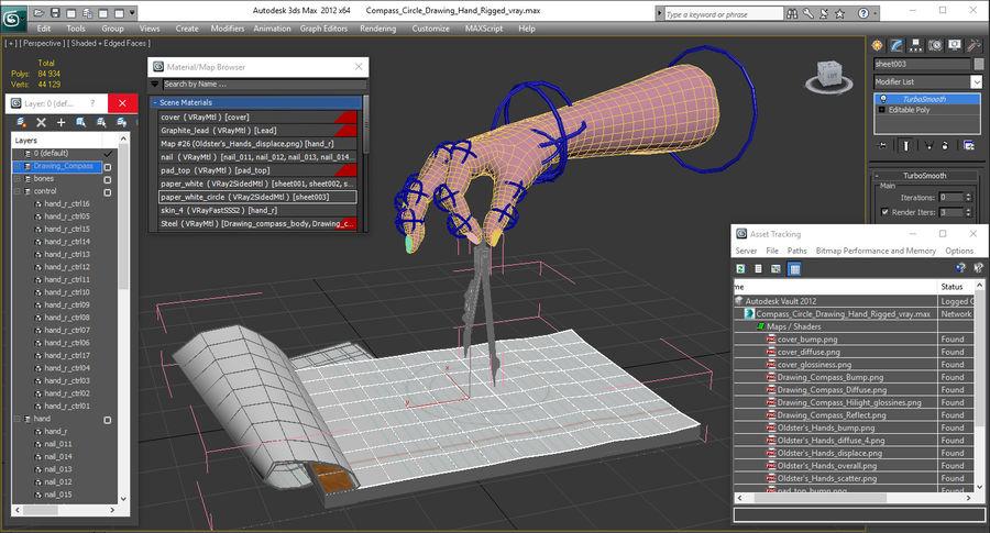 Brújula Círculo Dibujo Mano 3D Modelo royalty-free modelo 3d - Preview no. 21