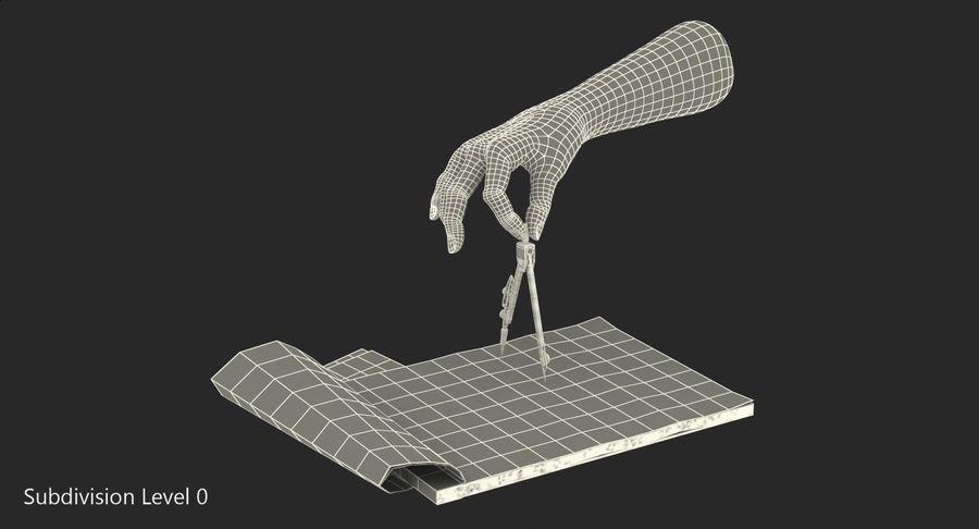 Brújula Círculo Dibujo Mano 3D Modelo royalty-free modelo 3d - Preview no. 17