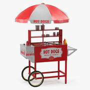 Hot Dog Cart with Food 3D Model 3d model