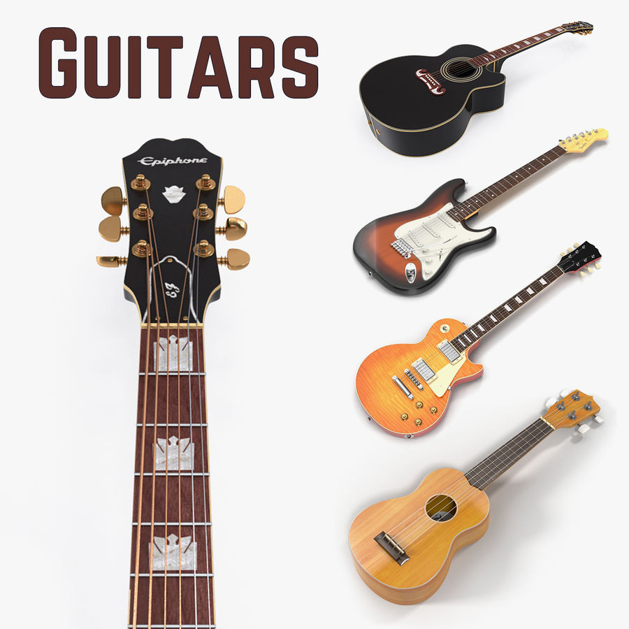 Guitars Collection 2 royalty-free 3d model - Preview no. 1